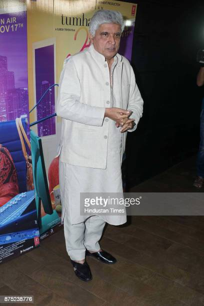 Poet Javed Akhtar during the special screening of a movie Tumhari Sulu on November 15 2017 in Mumbai India Tumhari Sulu is an Indian comedydrama film...