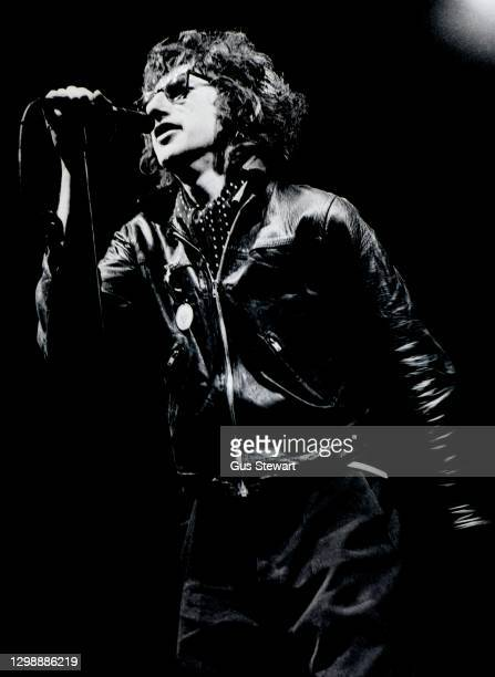 Poet, John Cooper Clarke performs on stage at the Dominion Theatre, London, England, on December 18th, 1978 as support to Richard Hell and Elvis...