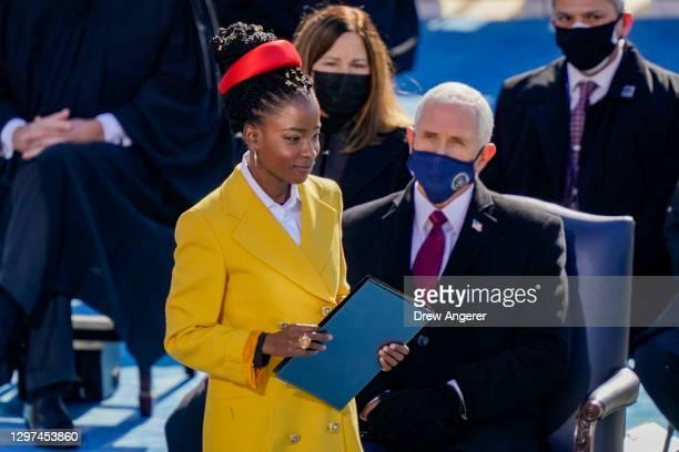 Poet Laureate Amanda Gorman prepares to speak at the inauguration of U.S. President Joe Biden on the West Front of the U.S. Capitol on January 20,...