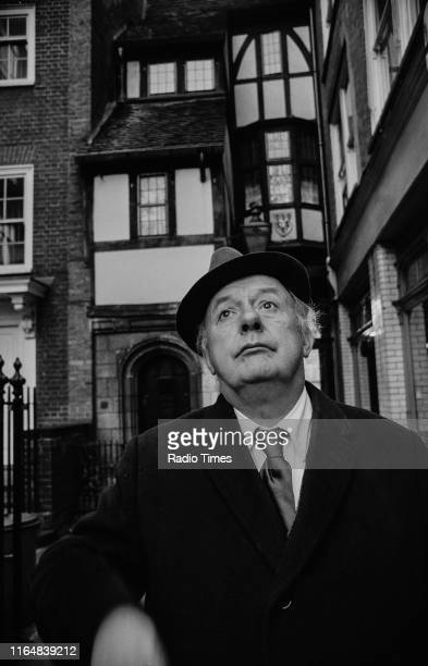 Poet Laureate John Betjeman near his home, interviewed for the BBC television documentary 'Thank God it's Sunday', the City of London, November 1972.