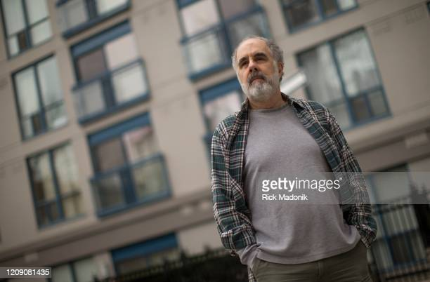 Poet Laureate of Toronto Albert Moritz Kelsey outside his downtown Toronto residence