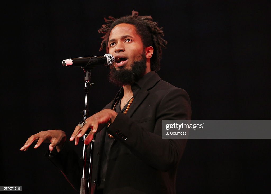 Poet Marshall Jones performs at the Novus Summit at the United Nations on July 17, 2016 in New York City.