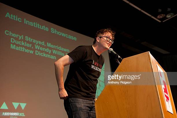 Poet Matthew Dickman speaks onstage at the 2011 Wordstock Literary Festival at the Oregon Convention Center on October 9 2011 in Portland Oregon