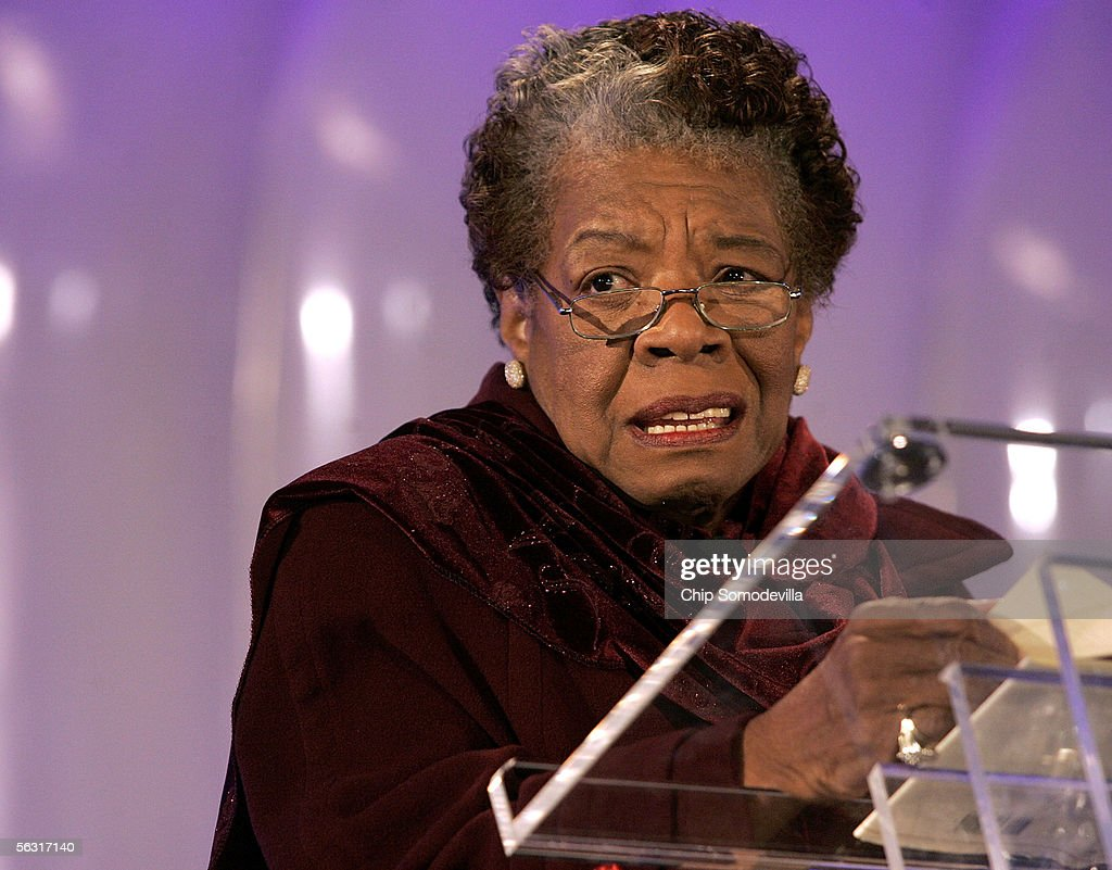 Poet Maya Angelou reads her poem 'Amazing Peace' during the 2005 Christmas Pageant of Peace and National Christmas Tree lighting ceremony December 1, 2005 on the Ellipse in Washington, DC.