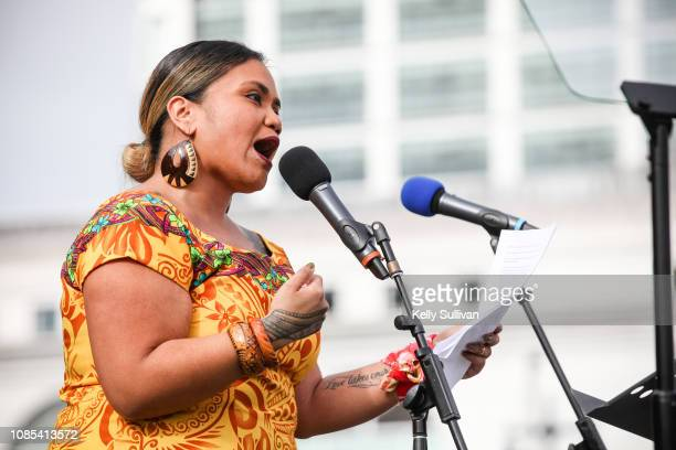 Poet Terisa Siagatonu speaks onstage at the Women's March San Francisco in Civic Center Plaza on January 19 2019 in San Francisco California