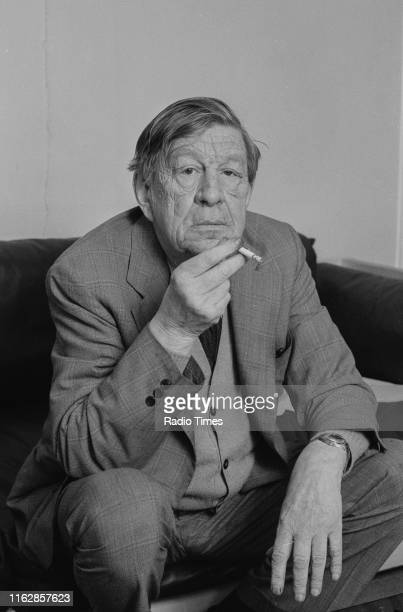 Poet W. H. Auden smoking a cigarette during an interview for the BBC television series 'Crosstalk', January 8th 1973.
