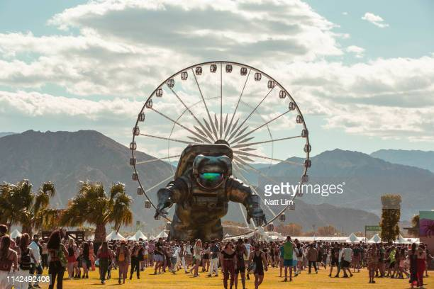 Poetic Kinetics, Overview Effect art installation is seen during Weekend 1, Day 1 of the 2019 Coachella Valley Music and Arts Festival on April 12,...