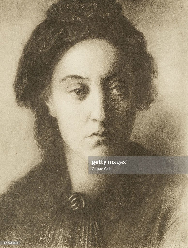 Christina Georgina  Rossetti 1877 - portrait - from drawing by  her brother Dante Gabriel Rossetti . English poet : News Photo