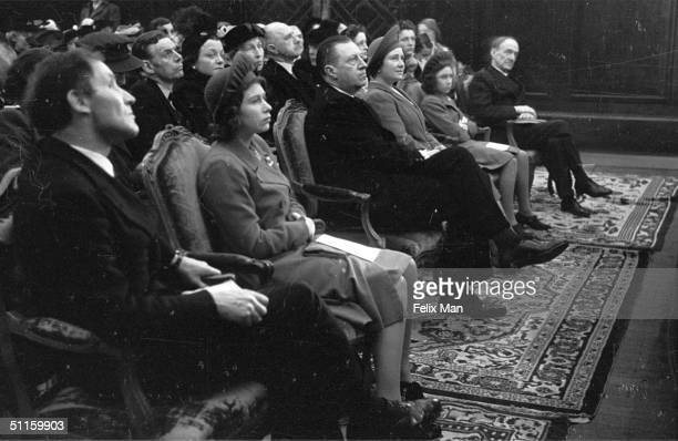 Poets and members of the royal family listen to a historic poetry reading by Edith Sitwell at Aeolian Hall 1st May 1943 From left to right Arthur...