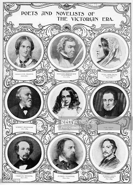 'Poets and Novelists of the Victorian Era' late 19th century Charlotte Bronte William Makepeace Thackeray George Eliot Robert Browning Elizabeth...