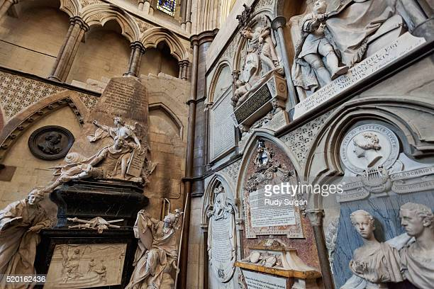 poet's corner in westminster abbey - westminster abbey stock pictures, royalty-free photos & images