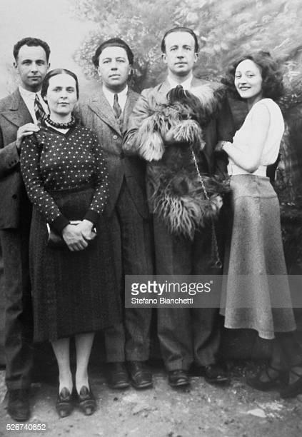 Poets Louis Aragon Andre Breton and Paul Eluard with Elsa Triolet Aragon and Nusch Eluard | Located in Bibliotheque d'Art et d'Archeologie Fondation...