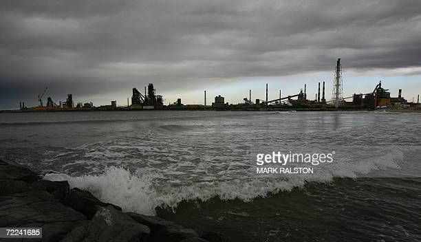 Pohang, REPUBLIC OF KOREA: View of the South Korean POSCO companies flagship steel mill and headquarters in the background, at the city of Pohang, 23...