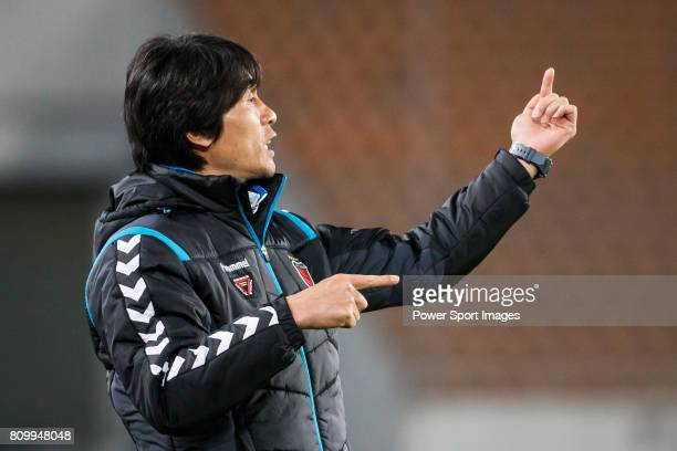 Pohang Steelers head coach Choi Jin Cheul reacts during the AFC Champions League 2016 - Group Stage - Match Day 1 between Guangzhou Evergrande vs...