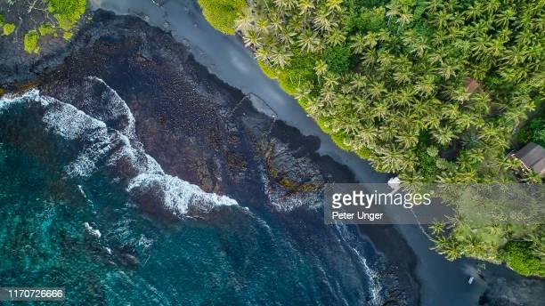 pohoiki black sand beach, pahoa,big island,hawaii,usa - ハワイ火山国立公園 ストックフォトと画像