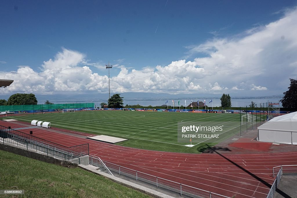 A poicture shows a general view of the German training grounds in Evian-les-Bains, central-eastern France, on June 7, 2016, three days ahead of the Euro 2016 football tournament. / AFP / PATRIK