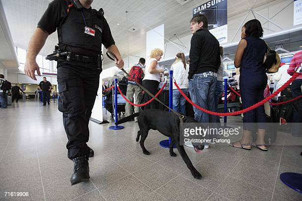 Poilce man and sniffer dog patrol the check in queues of Manchester Airport on August 10, 2006 in Manchester, England. British airports have been...
