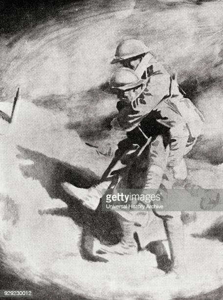Poilu and Tommy after the painttng by Sir William Orpen From the magazine Twenty Years After The Battlefields of 19141918 Then and Now by Sir Ernest...