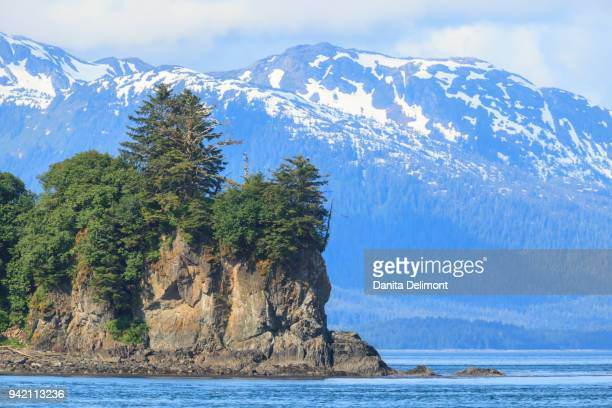 point adolphus and icy strait point on sunny day, chichagof island, inside passage, alaska, usa - isola di chichagof foto e immagini stock