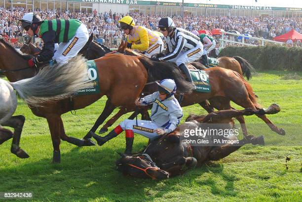 Point Barrow the favourite for the Grand National falls at the first fence with jockey Phillip Carberry during The John Smith's Grand National at...
