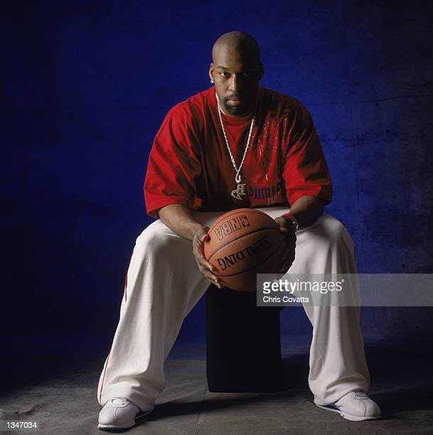 Point guard Baron Davis of the Charlotte Hornets poses for a studio portrait before the 2002 NBA All Star Game on February 2 2002 in Philadelphia...