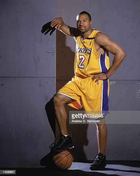 Point guard Derek Fisher of the Los Angeles Lakers poses for a studio portrait during the Lakers Media Day on September 30 2002 at the Staples Center...