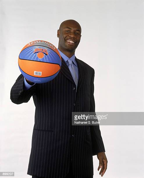 Point guard Frank Williams of the New York Knicks poses for a studio portrait before a press conference to discuss his future with the team at...