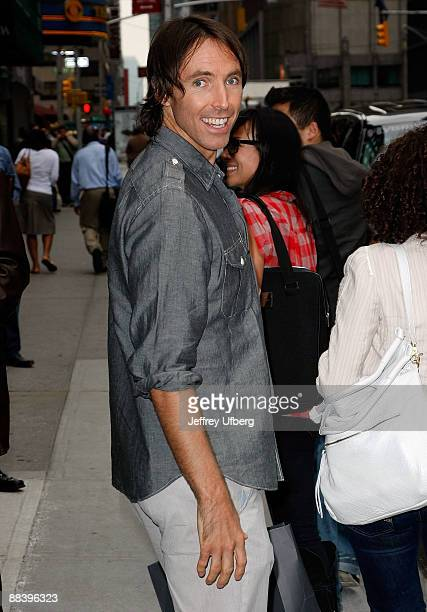 NBA point guard Steve Nash of the Phoenix Suns visits Late Show with David Letterman at the Ed Sullivan Theater on June 10 2009 in New York City