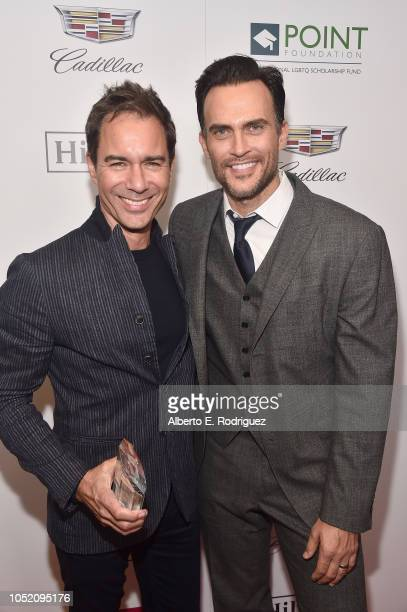 Point Impact Award Honoree Eric McCormack and Cheyenne Jackson pose backstage at Point Foundation's Point Honors gala at The Beverly Hilton Hotel on...