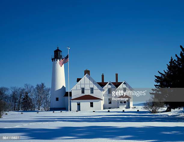 Point Iroquois Light Station in upper Michigan Hiawatha National Forest stands on the point on Lake Superior where Chippewa Indians halted the rival...