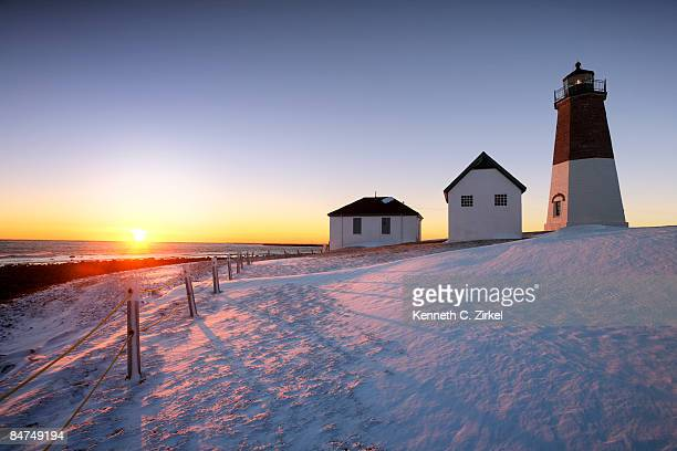 Point Judith Light in snow