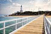 Point Lonsdale Lighthouse and jetty with seagulls in sky