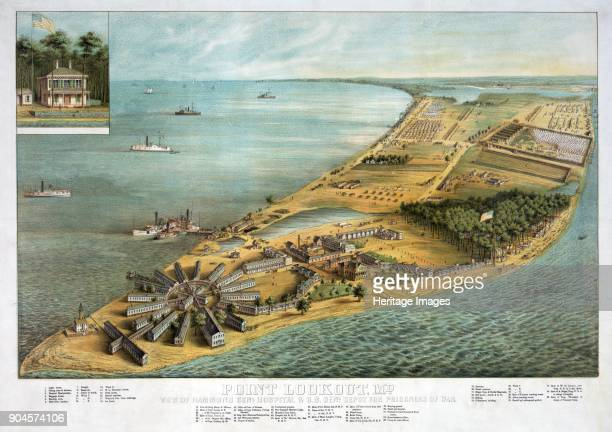 Point Lookout Md View of Hammond General Hospital and US General Depot for Prisoners of War pub 1864