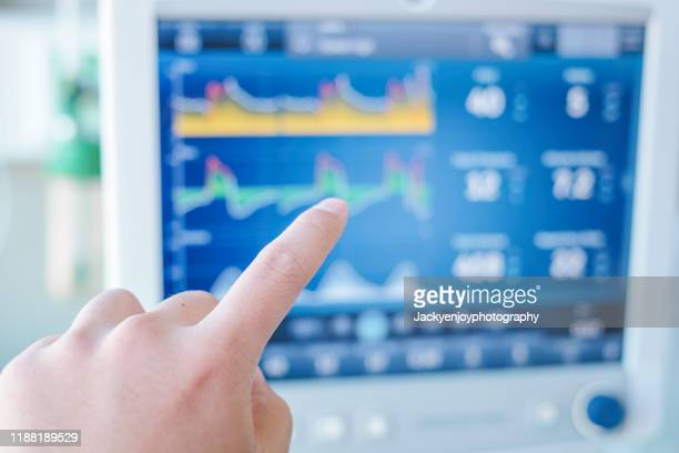 point of human finger to ventilator monitor ,given oxygen by intubation tube to patient, setting in icu/emergency room - intubation stock pictures, royalty-free photos & images
