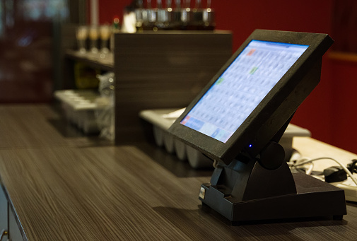 Point of sale system in a restaurant. Close-up view. 1199296378