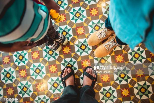 point of view foot on tile - open toe stock pictures, royalty-free photos & images