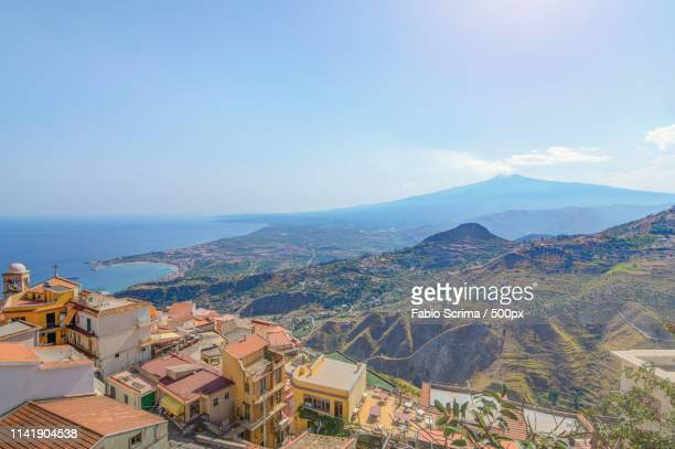 point of view from castelmola (sicily) - castelmola stock pictures, royalty-free photos & images