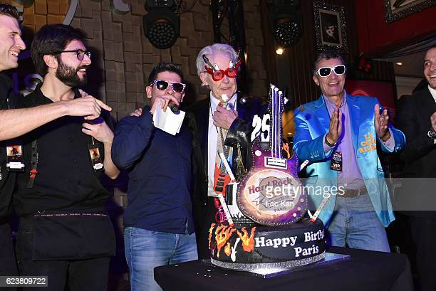 A point of view of Atmosphere with the 25th Anniversary cake Philippe Wintousky Mister Gadget and guests during 'Hard Rock Cafe Paris 25th...