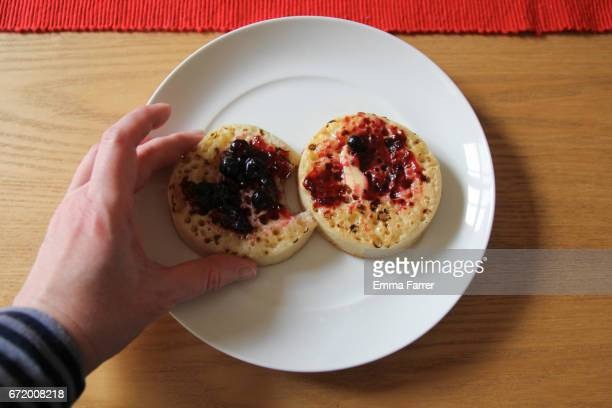 Point of View - Person Eating Crumpet