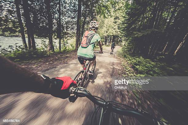 Point of view photograph of a mountain bike rider
