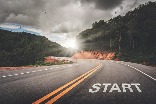 START point on the road of business or your life success. The beginning to victory. 1150260746
