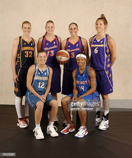 Point Shootout participants Katie Douglas Penny Taylor Diana Taurasi Sidney Spencer Laurie Koehn and Deanna Nolan pose for a portrait prior to the...