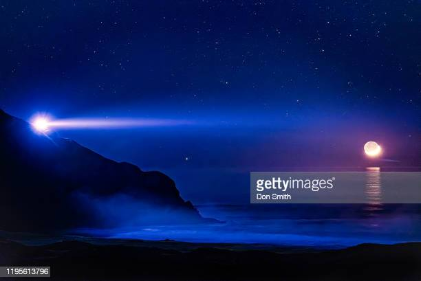 point sur lightstation, misty nigh, setting crescent moon - don smith stock pictures, royalty-free photos & images