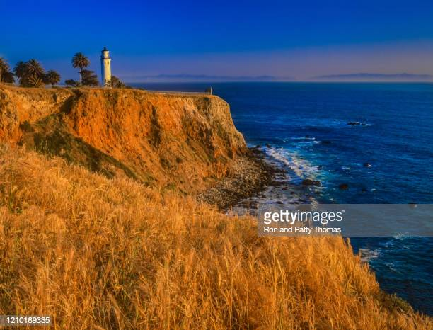 point vicente lighthouse atop of tall cliff  rancho palos verdes, california - rancho palos verdes stock pictures, royalty-free photos & images