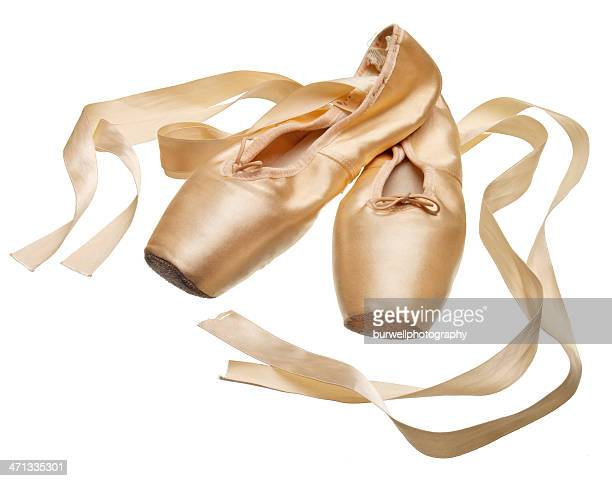 Pointe ballet slippers on white background