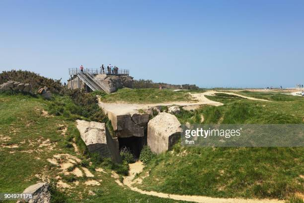 pointe du hoc - ruins of invasion/ d-day/ world war ii (normandy, france) - d day stock photos and pictures