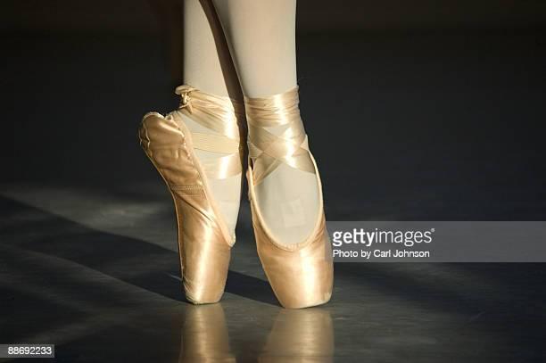 pointe shoes in golden hour light - タイツ ストックフォトと画像