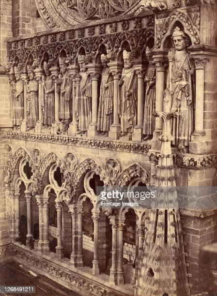 Pointed Arches, Sculptural Saints, and Rose Window on Unidentified Cathedral, 1880s. Artist Unknown.