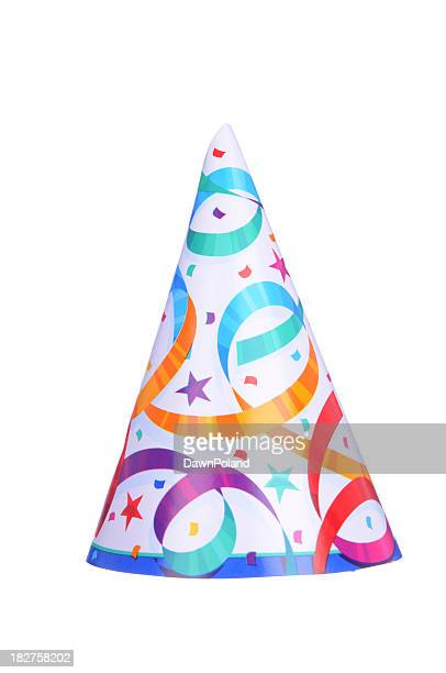 Pointed party hat with colorful streamers on