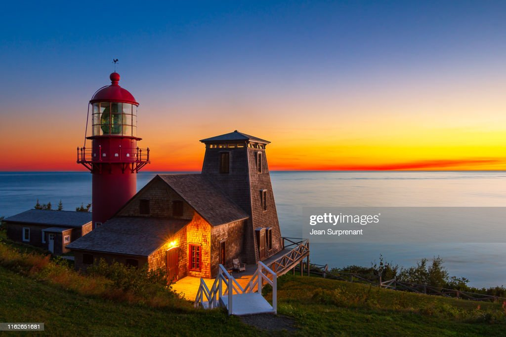 Pointe-à-la-Renommée_lighthouse _sunrise-DRI : Stock Photo
